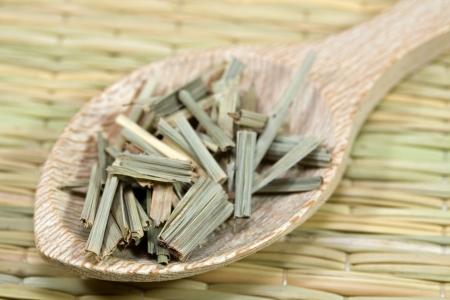 lemon grass: lemon grass on a wooden spoon