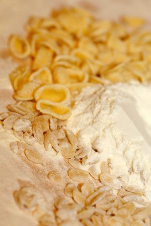 Fresh handmade pasta Orecchiette and Fricelli