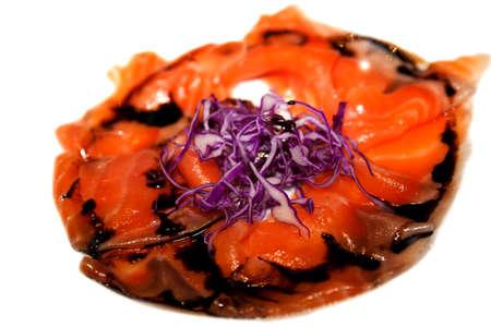 Sliced marinated salmon on a plate  Standard-Bild