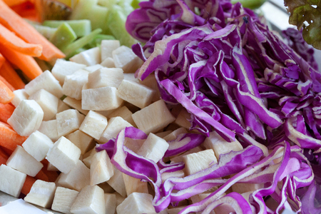 raw food from red cabbage, celery, carrots