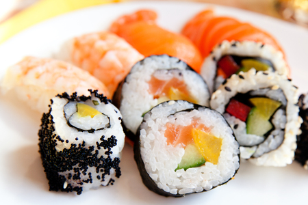selection of different types of sushi