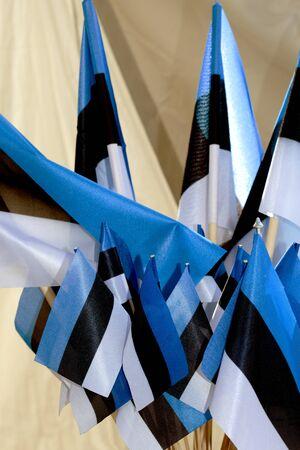 Flags of the Republic of Estonia in blue black white Standard-Bild