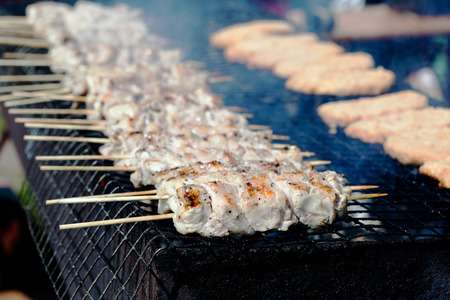 Food, meat, shish kebab on a grill