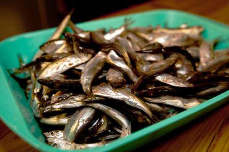 sprats: many sprats prepared ready to cook