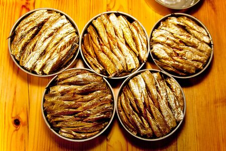 gold cans: smoked sprats canned in a tin