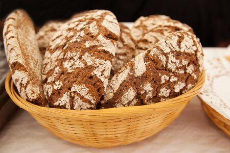 handmade rye bread in a bread basket