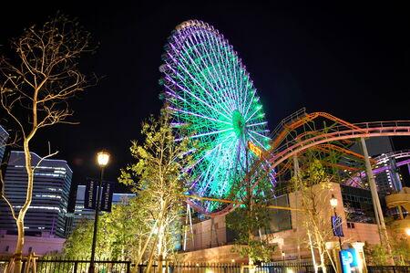 ferriswheel: Yokohama, Giappone-Minato-Mirai al volante night.Ferris