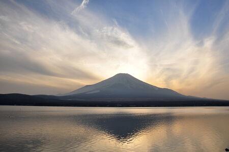 fuji san: Fuji san from Lake Yamanaka Stock Photo