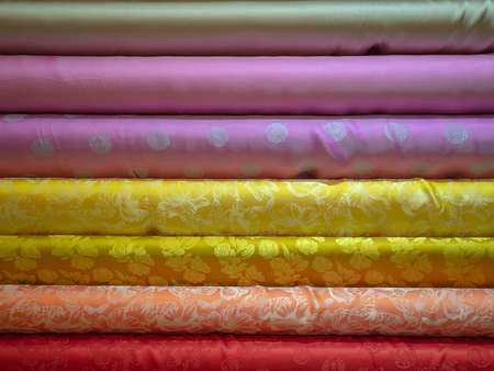 Colorful Heap of Cloth Fabrics, Abstract Background Texture