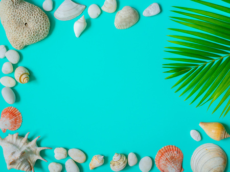 Flat Lay Beach Accessories, Beach Seashells, Coral, Beach Pebbles and Coconut Palm Leaf on Aqua Blue Background with Blank Text Space. Top View Vacation Summer Concept.
