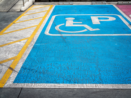 Disabled handicap parking space reserved for handicapped.
