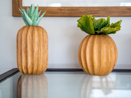 Succulent plant or cactus plant in wooden pot on glass table decoration on white wall background in cafe. 版權商用圖片