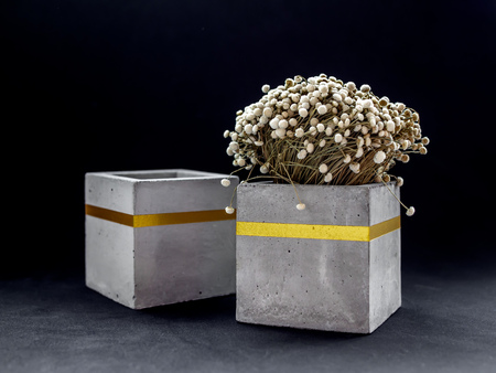 Two modern cubic concrete planters with gold color bar flowers on dark background. Painted concrete pot for home decoration. Imagens