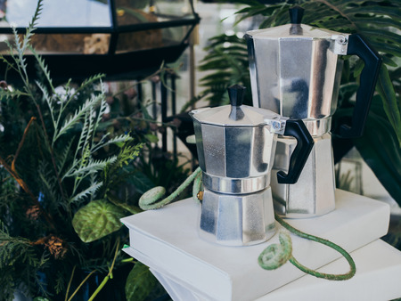 Two stained stainless steel italian coffee makers on white hard book cover on green plants background.