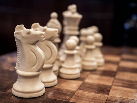 Old vintage white chess on chessboard, selective focus on the knight or horse.