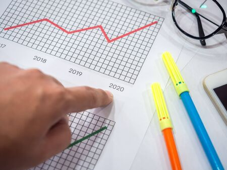 Business goal concept. Close-up hand pointing on 2020 on diagrams graphs with glasses, smartphone and highlighter pen on table.