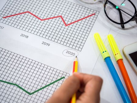 Business goal concept. Close-up hand draw circle on 2020 on diagrams graphs by pencil with glasses, smartphone and highlighter pen on table.