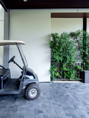 Black golf cart or golf buggy car in the hotel service for customer, vertical style.