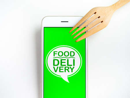 Food delivery concept. Words