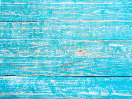 Old vintage turquoise blue painted wooden plank background. Wood grunge texture with copy space. Фото со стока