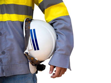 Engineering people wearing yellow high visibility safety jacket holding white safety helmet or hard hat isolated on white background with copy space. 스톡 콘텐츠