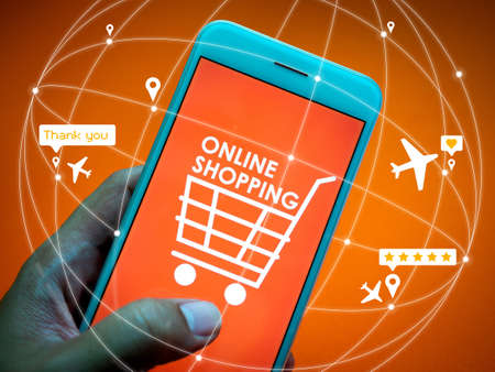Online shopping concept. Close-up words