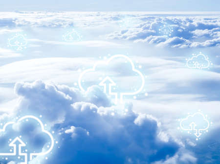 Cloud computing technology concept. Cloud digital storage icons with up and down arrows above the sky background. Data network online server technology concept. 스톡 콘텐츠