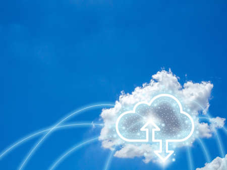 Cloud computing technology concept. Cloud digital storage icon with up and down arrows on blue sky background with copy space. Data network online server technology concept.