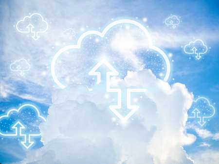 Cloud computing technology concept. Cloud digital storage icons with up and down arrows on blue sky background. Data network online server technology concept. 스톡 콘텐츠