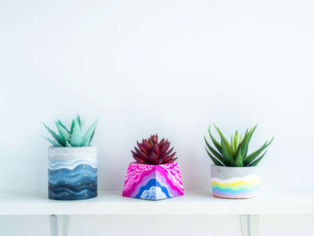 Colorful various DIY concrete pots with beautiful green and red succulent plants decoration on white wooden shelf on white wall background with copy space. Three unique painted cement planters. Stockfoto