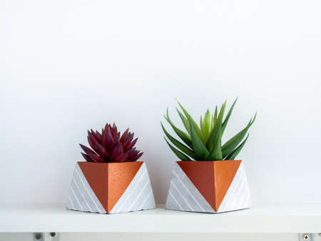 DIY concrete pots, pyramid shape with green and red succulent plants on a white wooden shelf on white wall background with copy space. Two unique copper color painted cement planters. Stockfoto