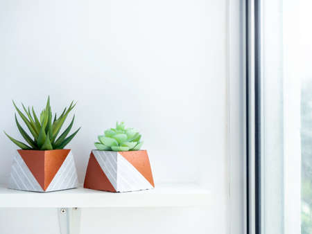 DIY concrete pots, pyramid shape with green succulent plants on white wooden shelf on white wall background near glass window with copy space. Two unique copper color painted cement planters. Stockfoto
