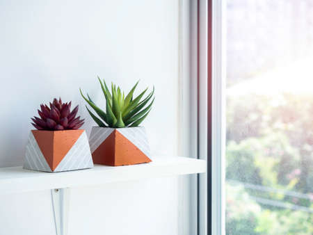 DIY concrete pots, pyramid shape with green and red succulent plants on white wooden shelf on white wall background near glass window with copy space. Two unique copper color painted cement planters.