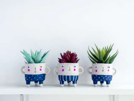 Cute face ceramic plant pots with green and red succulent plants on white wooden shelf isolated on white wall background with copy space. Three small modern DIY cement planters trendy decoration. Stockfoto