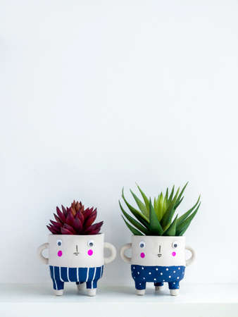 Cute face ceramic plant pots with green and red succulent plants on shelf isolated on white wall background with copy space, vertical style. Two small modern DIY cement planters trendy decoration. Stockfoto