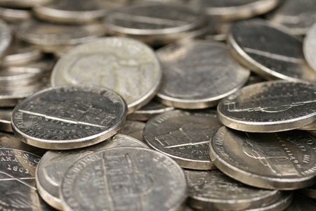 five cents: American Nickels Close Up Stock Photo