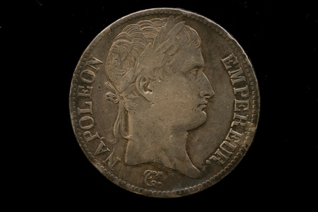 Antique French Coin Isolated On Black Stock Photo - 22496150