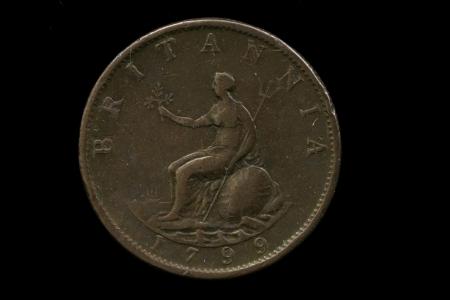 penny: Antique British Penny Stock Photo