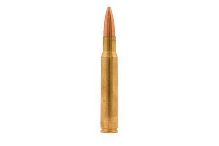 Large Caliber Bullet Isolated On White Stock Photo