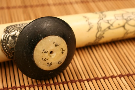 morphine: Opium Pipe On A Bamboo Mat