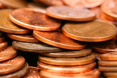 pennies: Pennies Extreme Close Up Stock Photo