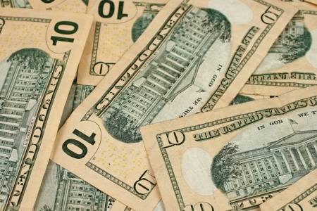 monies: American Ten Dollar Bills Close Up