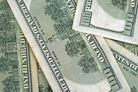 Close Up Of Back Of Hundred Dollar Bills Stock Photo