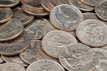 Close Up Of American Quarters