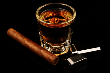 Whiskey and a cigar Stock fotó