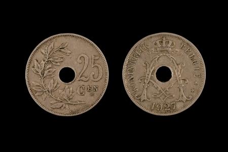 Old Belgian Twenty Five Centimes Coin