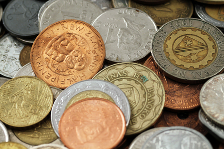 close up: Foreign Coins Close Up Stock Photo