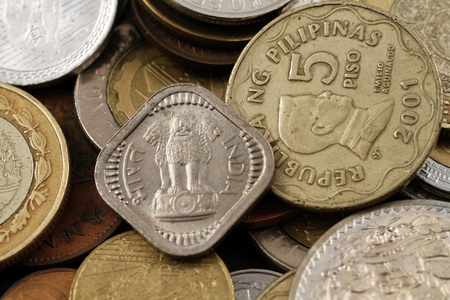 foreign: Foreign Coins Close Up Stock Photo