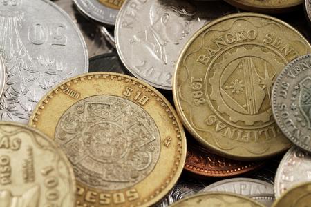 Foreign Coins Close Up Stock fotó