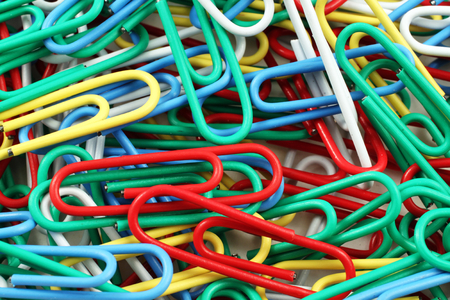 Colored Paper Clips Close Up Stock Photo